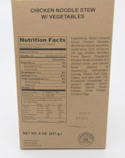 Mre Nutrition Label Besto Blog